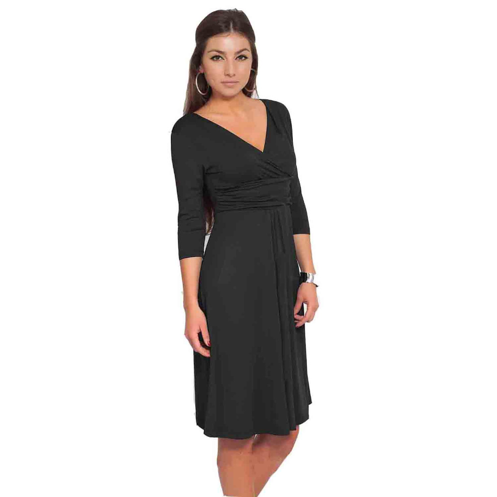 Black dress v neck 3 4 sleeves - Women S 3 4 Sleeve Wrap V Neck Jersey Dress Sexy Fit And Flared Women