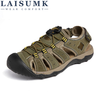 LAISUMK New Fashion Summer Beach Breathable Men Sandals Genuine Leather Men's Sandal Man Causal Shoes Plus Size 39 48