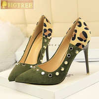 Sexy Night Store Women Pumps 10 5CM Thin High Heels Pointed Toe Head Suede Leopard Print