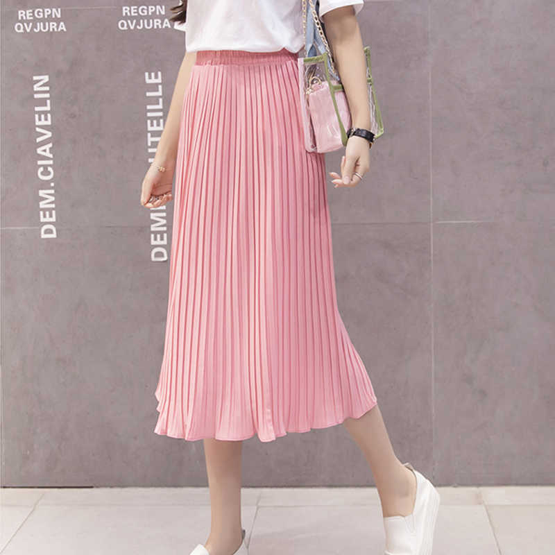 1df580da35 ... Women Pleated Midi Skirt Chiffon Elastic High Waist Tutu Long Skirts  Female Summer Maxi Female Elegant ...