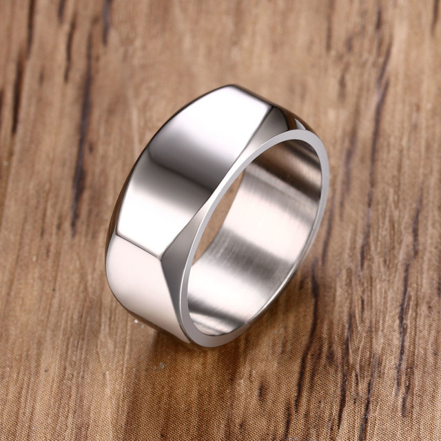 Stylish Men's Flat Top Personalised Ring in Silver Tone Stainless Steel Band Four Seasons Summer Male Jewelry Anel Aneis Anillos