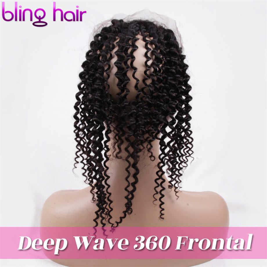 """Bling cabelo encaracolado kinky 360 fechamento frontal do laço com cabelo do bebê cor natural peruano 100% remy 13*4 fechamento do cabelo humano 8 """"-22"""""""