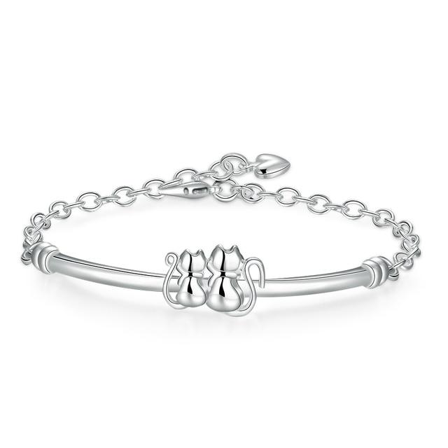Gl Bracelet Silver Plated Animal Cat Fashion Jewelry For Women Cute Jewellery Bijoux Bileklik