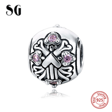 Fit pandora charm Bracelet Silver 925 Original Blooming flowers beads with pink CZ diy fashion Jewelry making for women Gifts