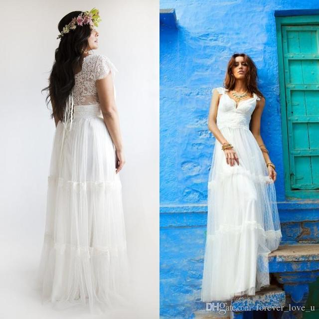 2015 Bohemian Wedding Dresses Plus Size A Line Bridal Gowns Vintage ...