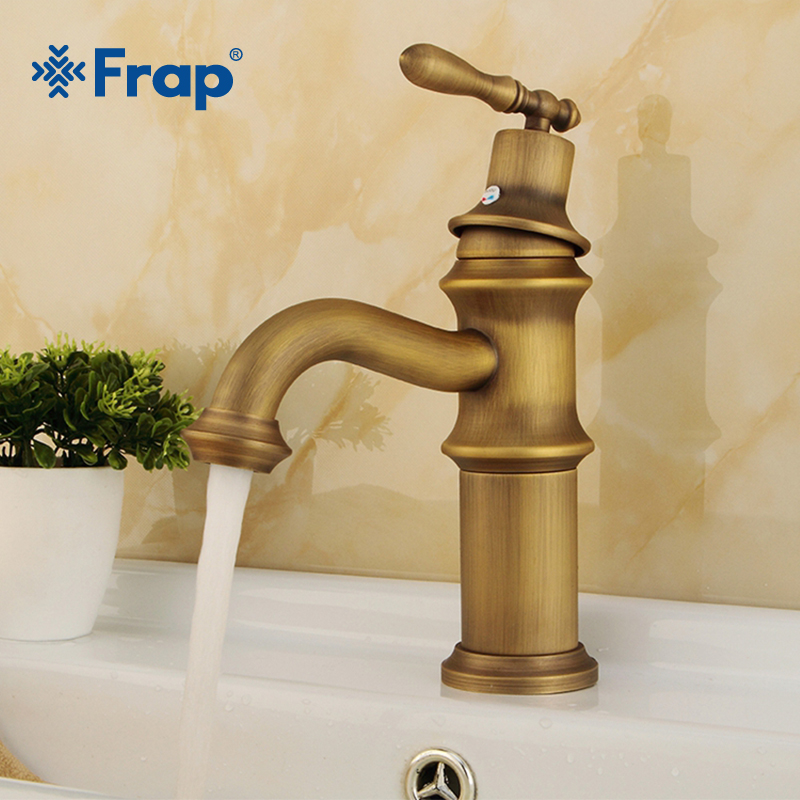 цена на FRAP Brass Antique Brass Bathroom Faucet Sink Basin Faucet Brass Single Handle Single Hole Deck Basin Cold&Hot Water Tap Y10067