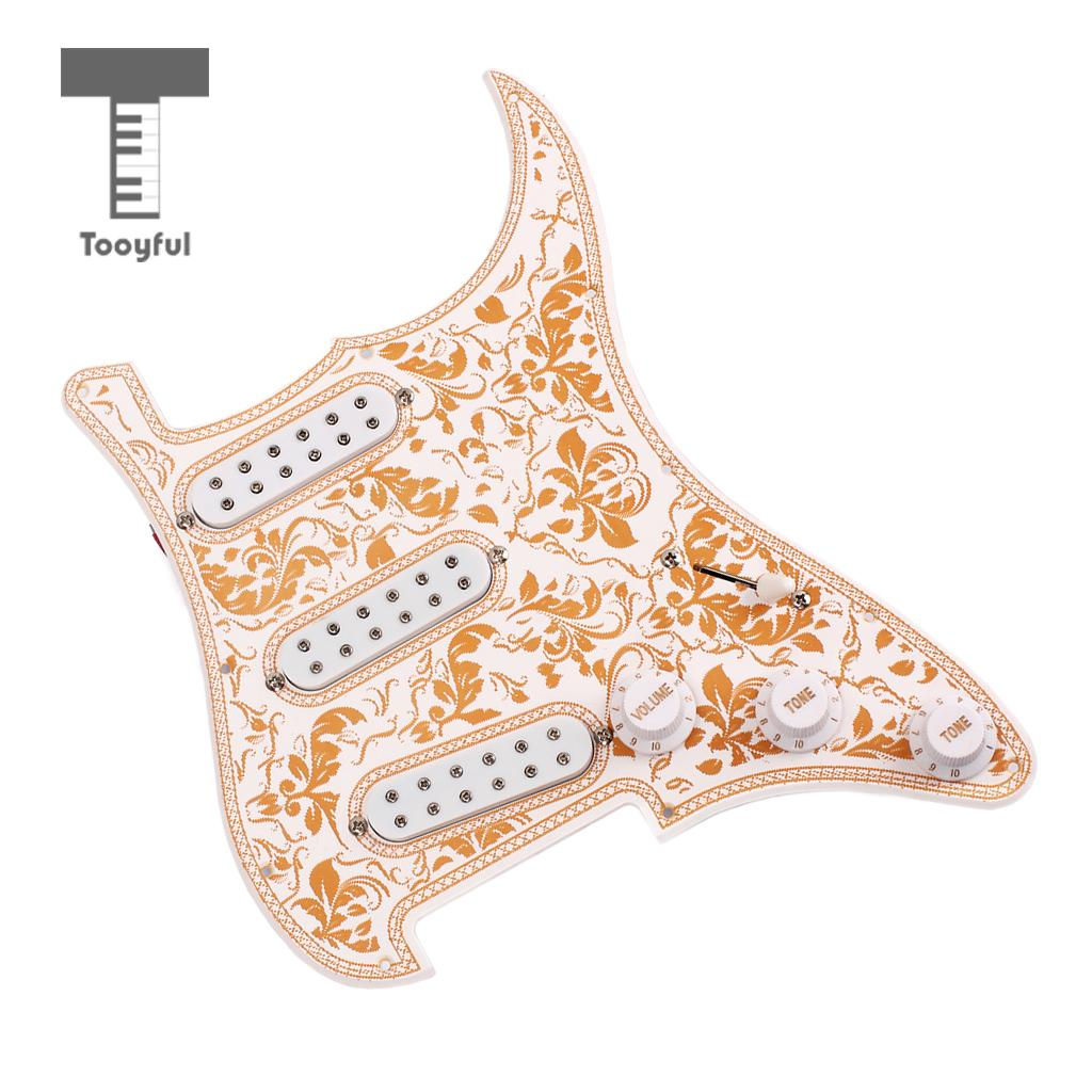 Tooyful 3-ply Loaded Prewired Pickguard SSS Pickup Guard Plate for Strat ST Guitar Replacement 4pcs new quality guitar pickguard sss yellow pearl 11 hole for electric strat replacement
