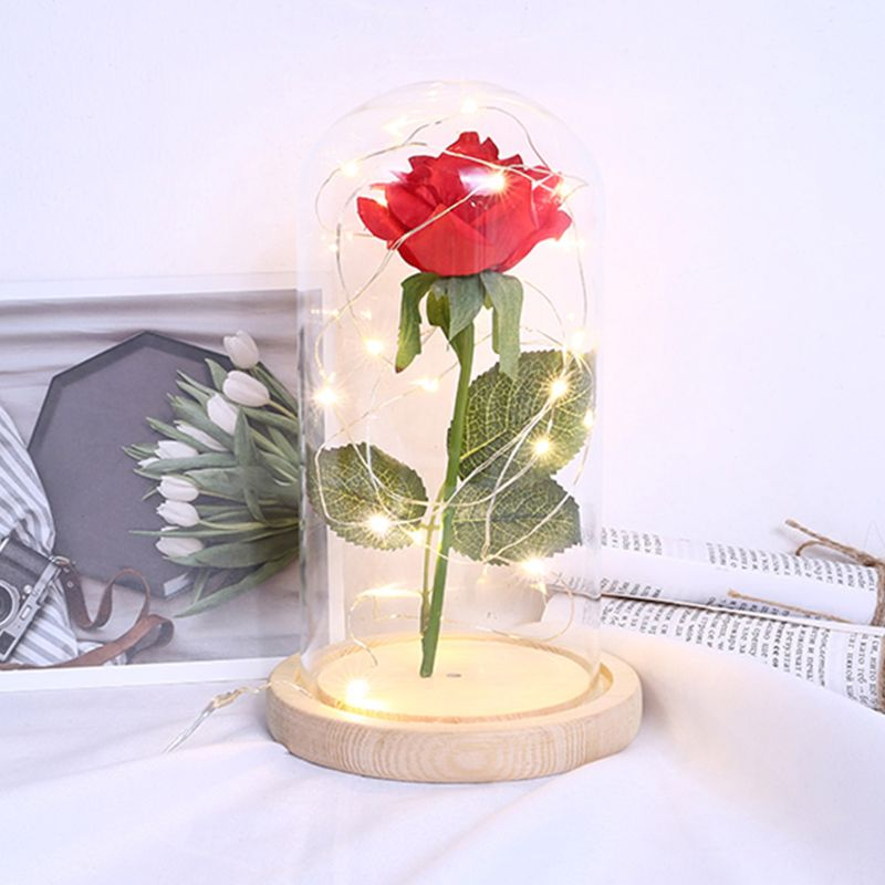 1 Set Desk Ornaments Rose Flower Party LED Light Gifts Glass Dome Cover USB Cable Wedding Valentine's Day Home Decoration
