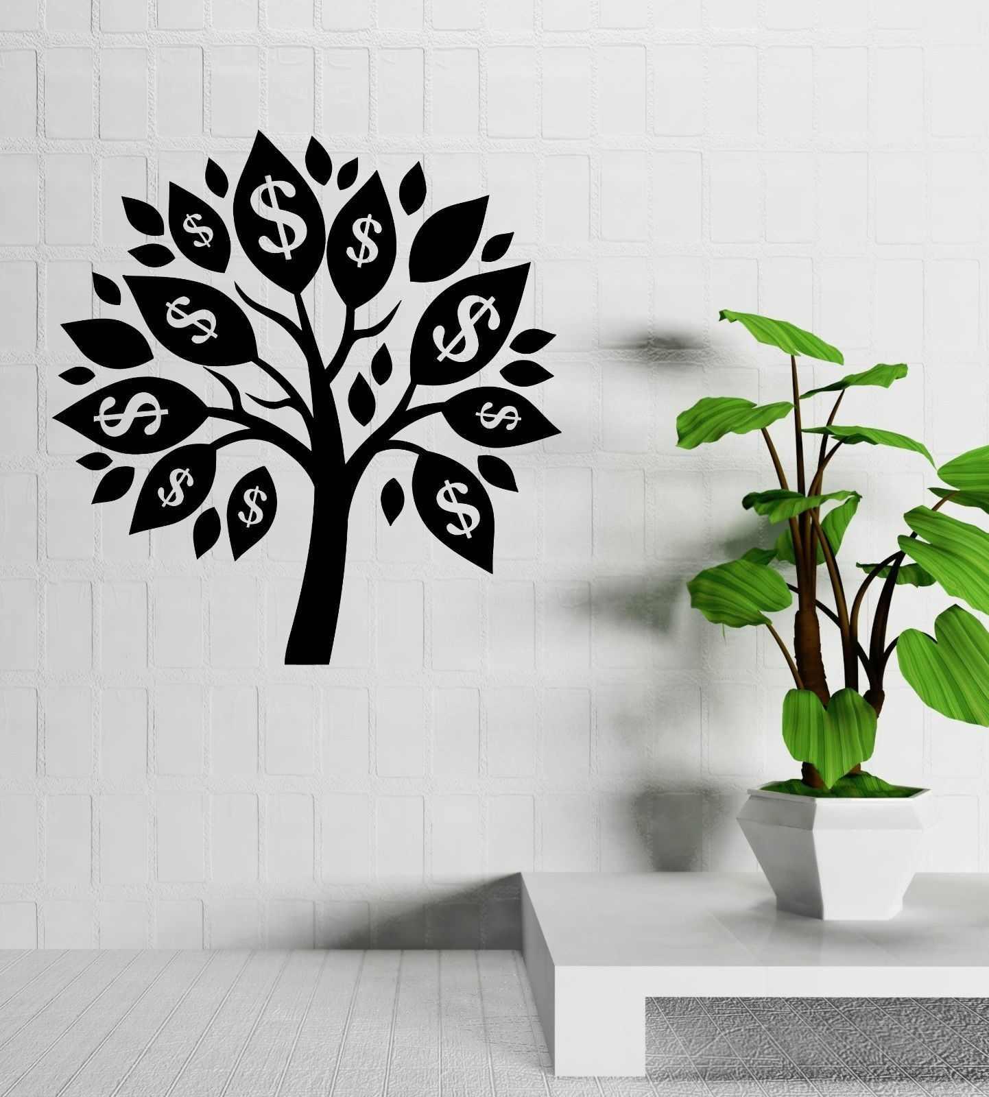 Argent arbre Talisman succès chambre décoration sticker Mural vinyle Stickers muraux pour magasins plante adhésif Art Mural SZ068