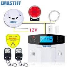 GSM Kablolu Alarm Sistemi Dahili anten Alarm Sistemleri Güvenlik Ev Alarm Rusça İngilizce İspanyolca Ses Duman dedektörü ile