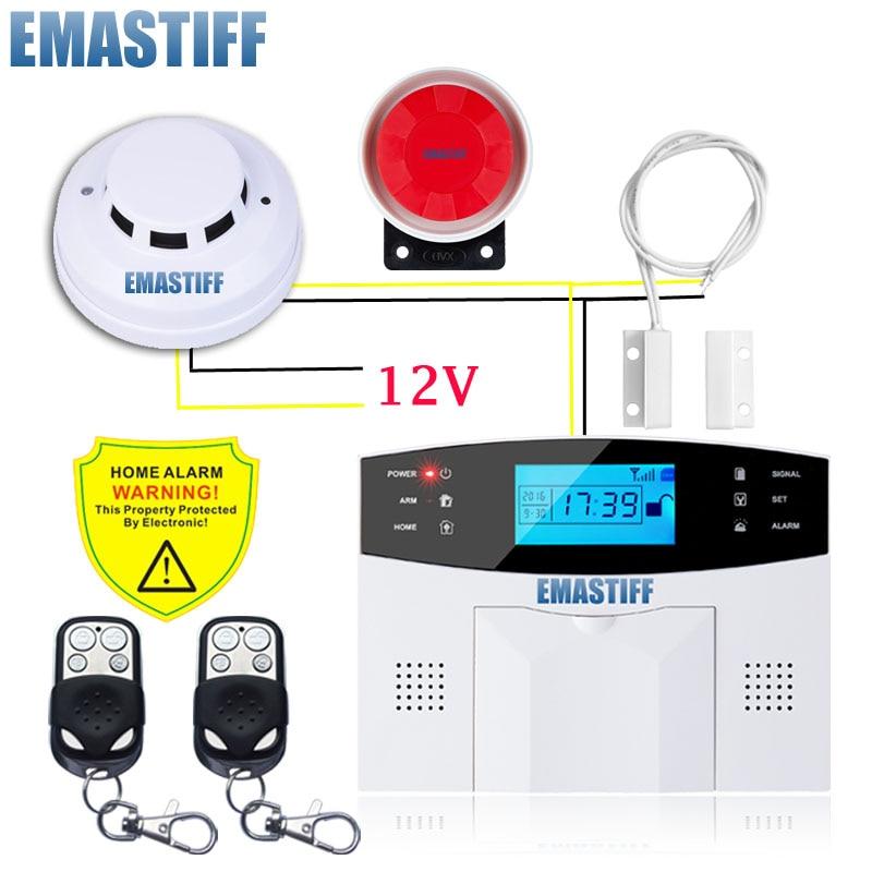 Système d'alarme filaire GSM antenne intégrée systèmes d'alarme sécurité alarme domestique russe anglais espagnol voix avec détecteur de fumée