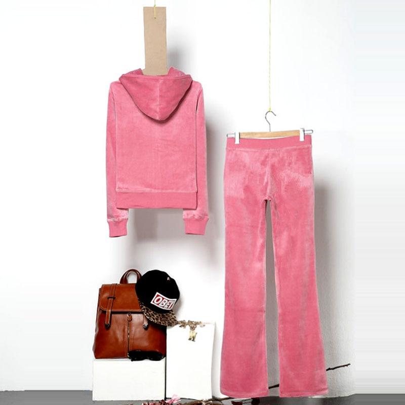 Velvet Fabric Women's Brand Velvet Workout Suit Women's Suit Track Suit Hoodies Tops And Pants Size XS-XL