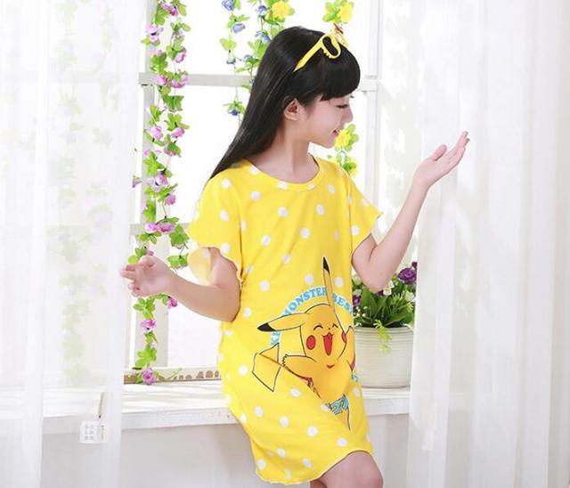 bbabb7c4e2ca Cute Yellow Cartoon Girl Kids Children Summer Short Sleeve Nightgown  Loungewear Sleepwear Skirt Dress Pajamas New Cotton
