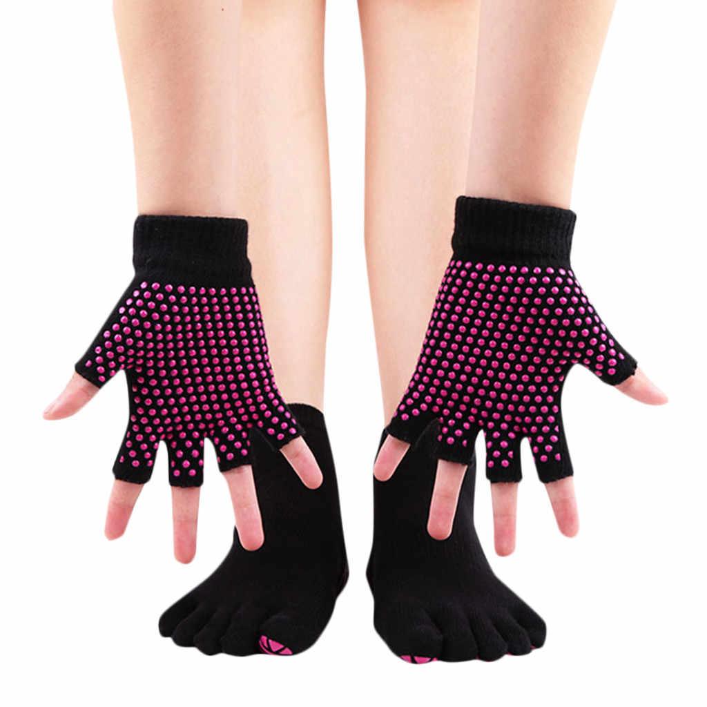Frauen yoga Gym Massage Streifen Anti Slip Kappe Socken Halb Finger Handschuhe Socken Set yoga socken frauen socken frauen sport skarpetki # ss