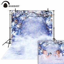 Allenjoy photography backdrop photophone bokeh glitter Christmas snow winter wonderland branch background photocall photo studio