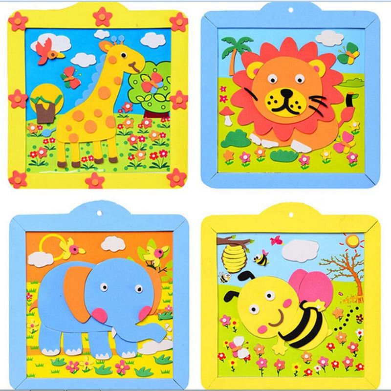 12ks doprava zdarma 3D EVA fotorámeček DIY ručně vyrobené materiály balíček Cartoon Animal Toys pro děti Girl Learning & Education Toy