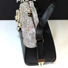 Women Crystal Totes Luxury Handbag Flowers Shoulder Bags Bridal Wedding Chain Bag Genuine Leather