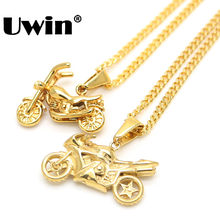 Super Deal Brand Men's Cool Stainless Steel Gold Color 2 design Motorcycle Pendant Necklace Cuban Chain Necklace Hiphop Jewelry(China)