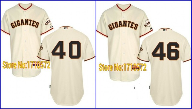 72ad9919b Cheap Mens San Francisco Authentic Gigantes 40 Madison Bumgarner 46  Santiago Casilla SF Baseball Jerseys