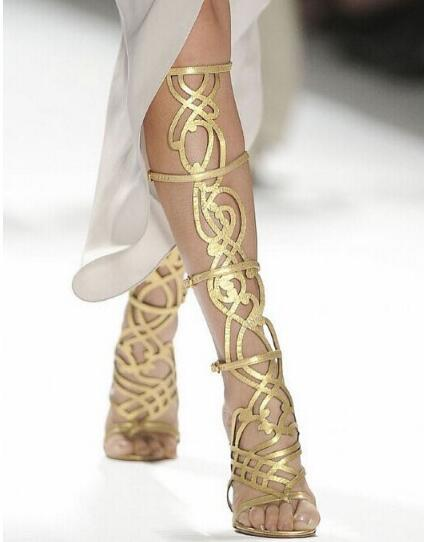Women Gold Metallic Sandals Cut-out High Heels Geometric Gladiator Sandals Boots For Women Real Photo Cut-out Dress Shoes