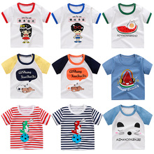 Children's short-sleeved T-shirt cotton half-sleeved baby blouse boys and girls baby bottom shirt summer dress 0-7 years old