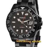 Parnis 40mm siyah kadran Siyah PVD kılıfı GMT safir cam Otomatik erkek saati