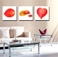3 Panel Abstract Oil Painting Canvas Vintage Red Leaves Landscape Pictures Wall Decorative Paintings Red Kitchen