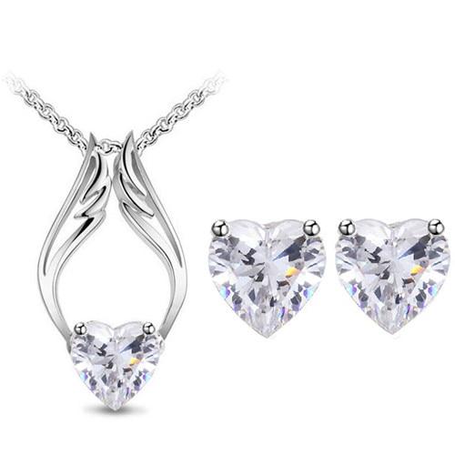 AAAA+ Zircon Heart Angel Wings Pendant Necklaces Earrings Jewelry Sets Women Accessories Drop Shipping