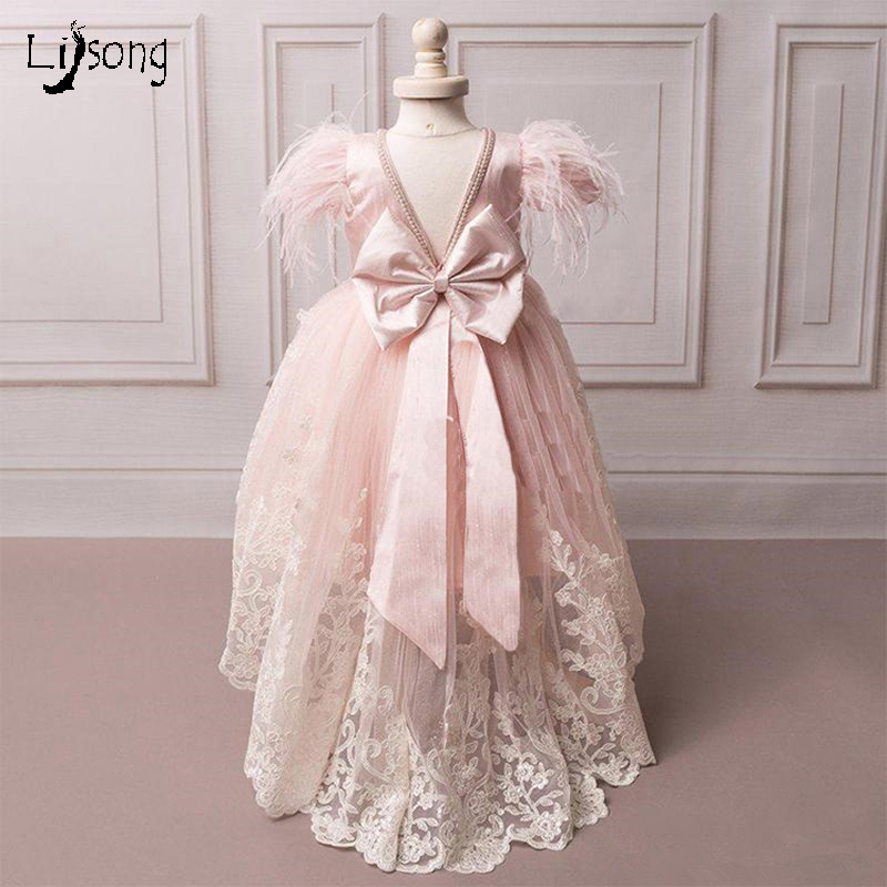 Baby Pink Princess   Girl     Dress   for Special Occasion Celebrity Custom Made Ball Gowns Lace Appliuqes Bow Sashes   Flower     Girl     Dress