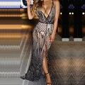 Sexy Womens V Profundo Neck Spaghetti Strap Cópia Do Vintage Baixo Cut Ver Através Dividir Nightclub Partido Maxi Ocasional do Verão Longo vestido