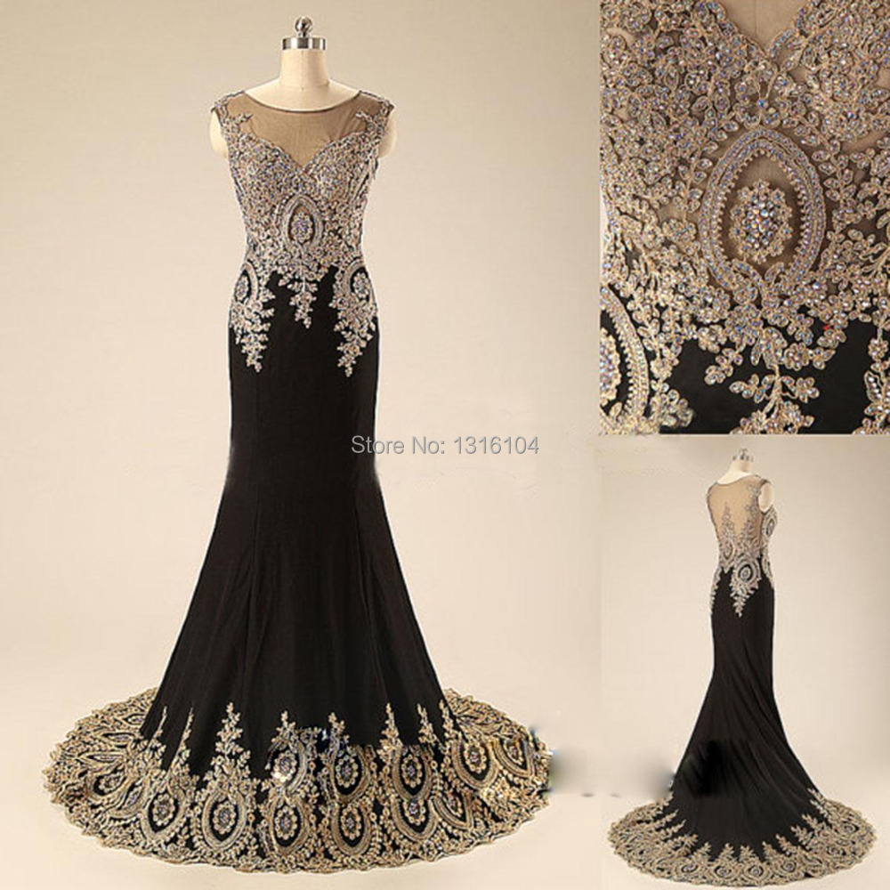 Black dress gold lace - 2017 Real Image Black Gold Sparkle Evening Dresses Applique Beaded Sequined Court Train Mermaid Chiffon Long