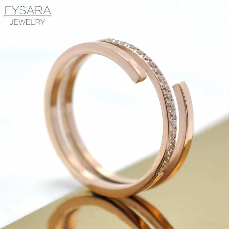 Luxury Geometry Intersect AAA Austrian Crystals Rings For Women Jewelry Rose Gold Color Bridal Wedding Finger Rings