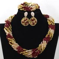 الجملة النبيذ الأحمر دبي مجموعة الذهب والمجوهرات النساء ملتوية كريستال الخرز الأفريقي مجوهرات الزفاف قلادة حزب مجموعة QW733