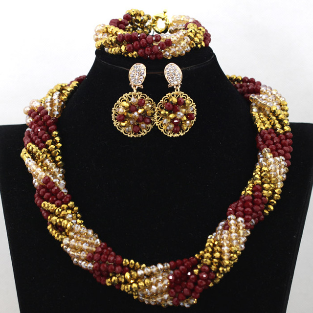 Wholesale Wine Red Dubai Costume Jewelry Set Gold Twisted Crystal