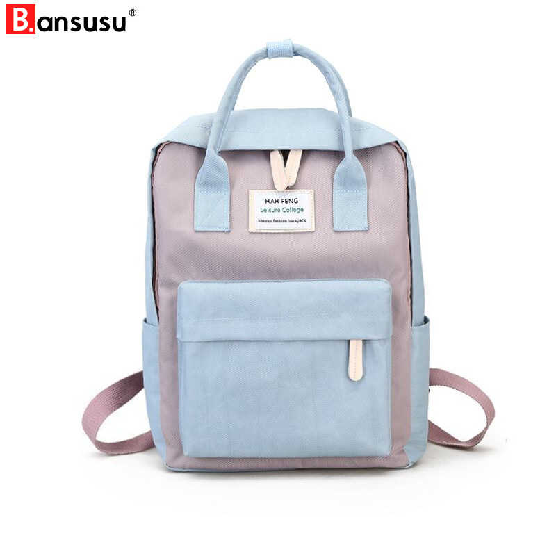 09423e588e7c BANSUSU Harajuku Minimalist Waterproof Canvas Backpacks Fresh Square female  Korean College Student Travel Bag Ulzzang Backpacks