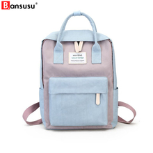 BANSUSU Harajuku Minimalist Waterproof Canvas Reput Fresh Square naaras Korean College Opiskelulaukku Ulzzang Reput