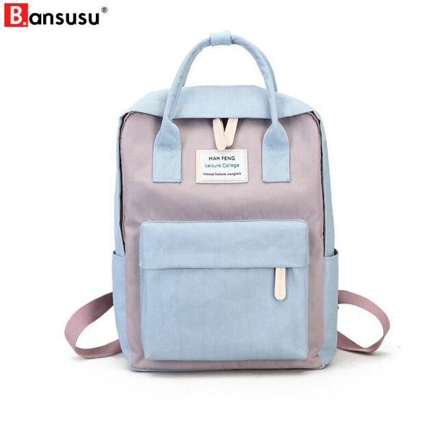BANSUSU Harajuku Minimalist Waterproof Canvas Backpacks Fresh Square female  Korean College Student Travel Bag Ulzzang Backpacks 5ec40a35fca7