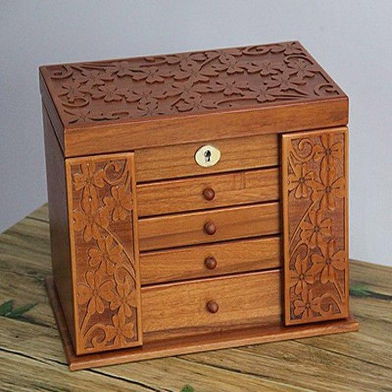 Luxe mode en bois princesse énorme super bijoux accessoires rangement organisateur boîte boîte cercueil mariage mère cadeau d'anniversaire