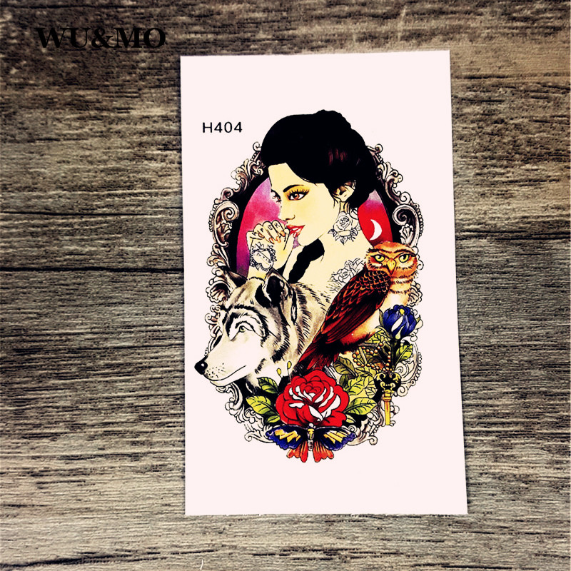 H404 Beauty Wolf Owl Rose Lady Body Art Sexy Harajuku Waterproof Temporary Tattoo For Man Woman Henna Fake Flash Tattoo Stickers