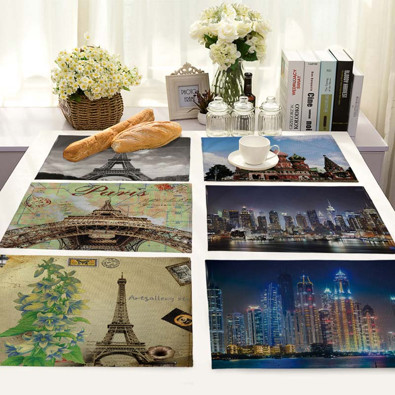 City landmark building patterns Table Dinner cotton and linen Napkin Placemats For Wedding Party Home Decor 42*32cm MB0003