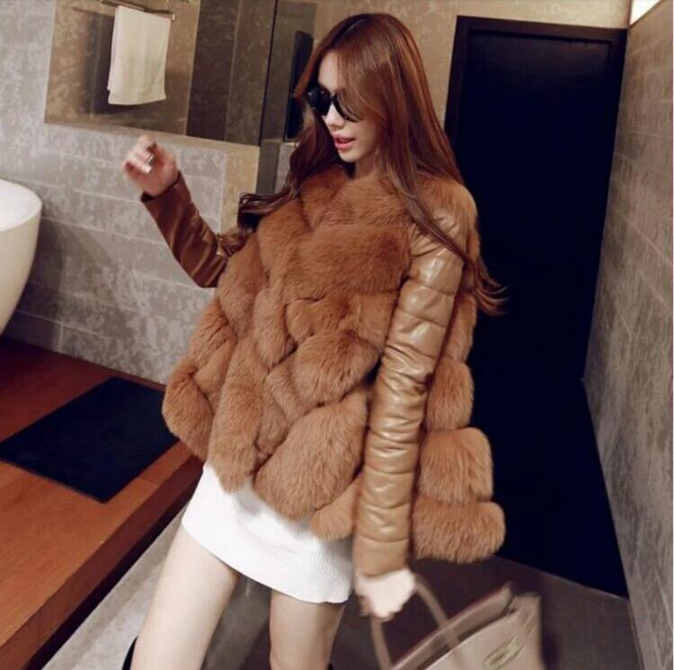 Leather jacket fur coat winter high fashion women's luxurious faux fur coat Socialite thick warm leather jacket parkas Top qual