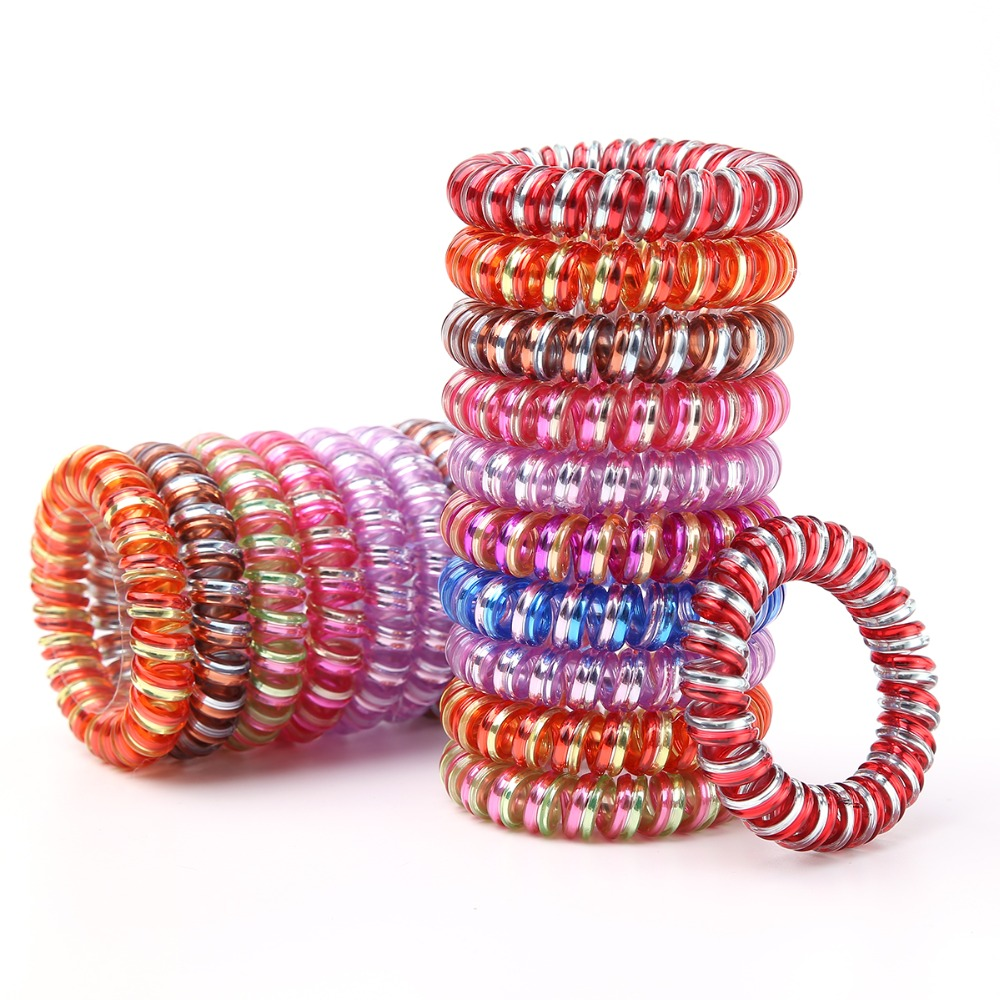 5Pcs/Lot New Glitter Multicolor Telephone Cord Women Headwear Elastic Rubber Bands Girls Gum Ponytail Holders Hair Accessories