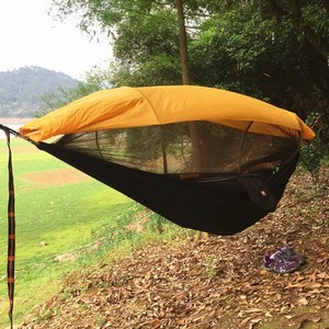 Image 3 - 2 Person Portable Outdoor Camping Hammock with Awning Mosquito Net High Strength Parachute Fabric Hanging Bed Hunting Swing