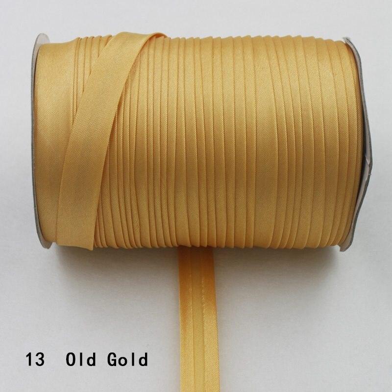"""100 ярд полиэстер 5/""""(15 мм) атласная косая лента косая Привязка сплошной цвет для пошив одежды «сделай сам» и обрезки - Цвет: 13    old gold"""