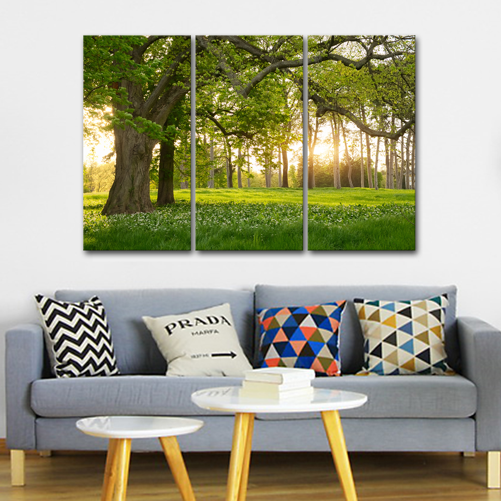 3 Pieces Unframed Green Nature Forest Picture Print Canvas