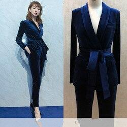 Комплект женский модный британский стиль тонкий профессиональный ремень маленький костюм из двух частей Золотой бархатный костюм брюки эл...