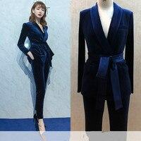 Set female fashion British style Slim professional belt small suit two piece gold velvet suit pants elegant suit female