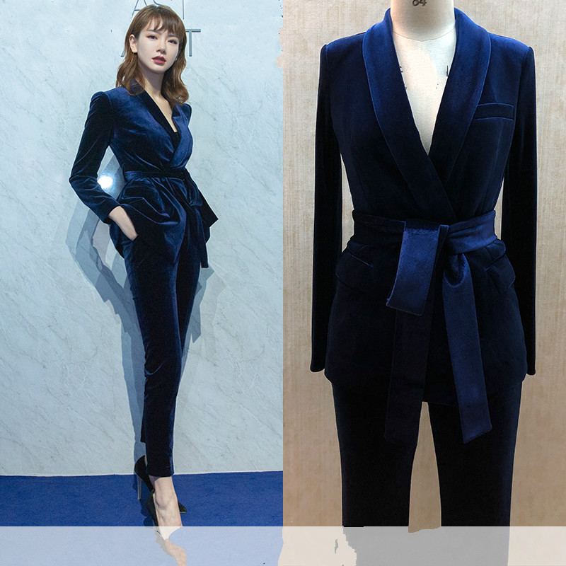 Set Female Fashion British Style Slim Professional Belt Small Suit Two-piece Gold Velvet Suit Pants Elegant Suit Female
