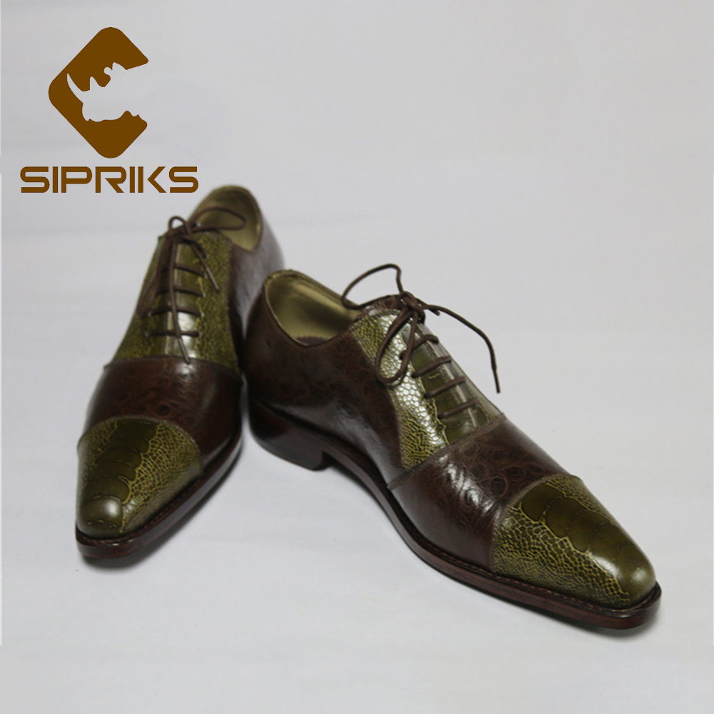 Formal Shoes Sipriks Two Toe Dress Shoes For Men Pointed Toe Oxfords Boss Mens Patchwork Shoes Printed Ostrich Skin Leather Goodyear Welted Shoes