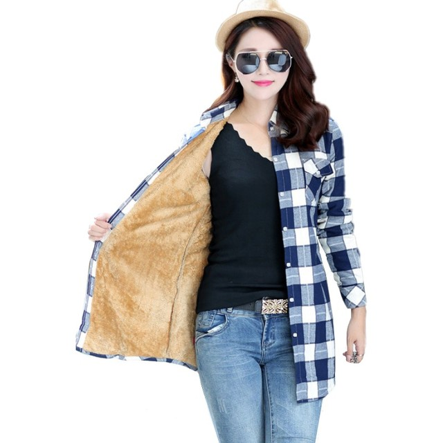 Mulheres Grossa De Veludo Camisa Xadrez Quente Encabeça Inverno Longo Xadrez Feminino Completa Blusa Blusas Femininas Chemise Femme M-XXL HS1589